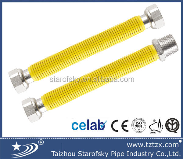 "Flexible extensible EN14800 <strong>stainless</strong> steel metal 304/316L gas hose/pipe/tube with PE yellow cover 1"" FM 300mm-600mm"