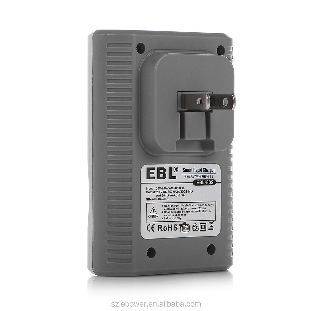 EBL AA AAA 9V Battery Charger 4 Slot for Ni-MH Ni-CD Rechargeable Batteries