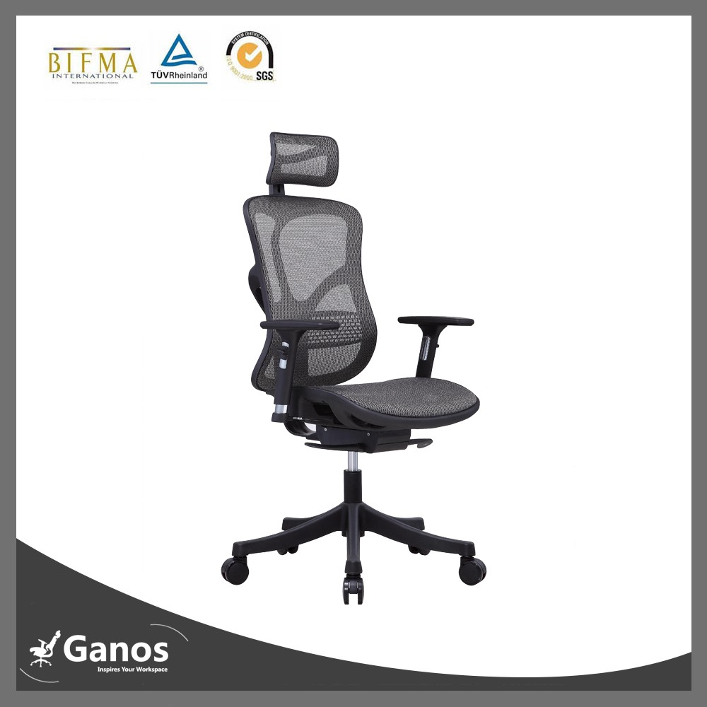 Comfortable high top office chair with adjustable armrest