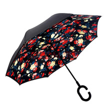 Innovative C Handle Double Layer Upside Down Car Umbrella
