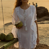 Summer Cotton Boho Embroidered Plunge Neckline Kaftan Resort Beach Cover Up Beach Wear Caftan HSd5057
