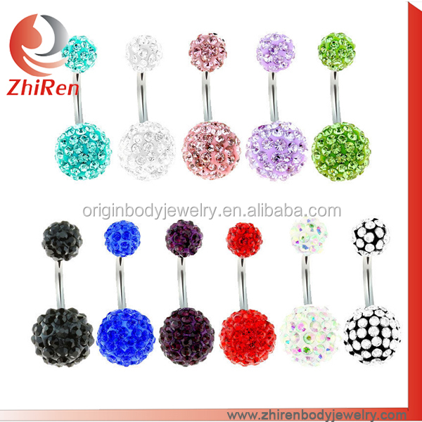 ZhiRen fashonable steel gems shamballa piercing ring,shamball navel piercing, shamballa belly piercing