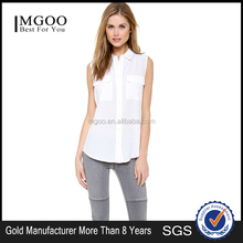 MGOO New Arrival White Shirt With Pockets Type Shirt For Ladies Sleeveless Fashion Blouses 15120A392