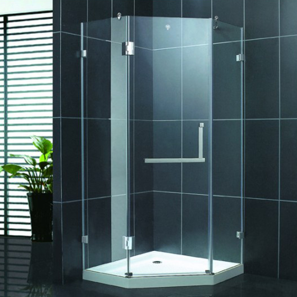 Custom size cheap price Hinge tempered glass diamond shape shower stall KDS-S1010