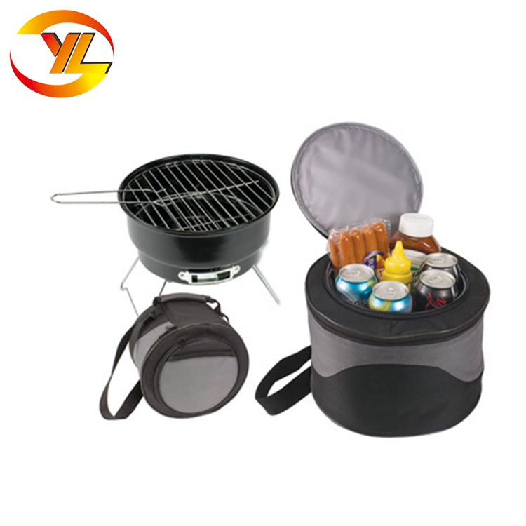 Mini camping portable folding charcoal bbq Grill with Cooler Bag