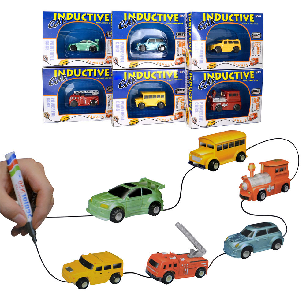 New arrived inductive trail trucks Magic pen drawing mini inductive car toys