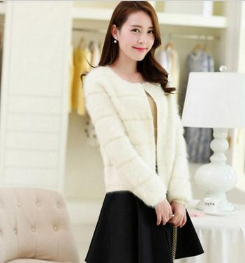 New korean female mink cashmere knitted cardigan pure imitation sweater all-match thick ladies fashion coat