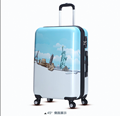Fashion printed light blue abs printed hard shell luggage with aluminum alloy rod