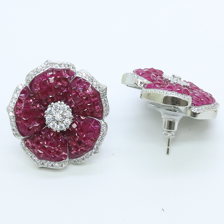 Stars Forever CZ Cubic Zircon Invisible Setting Flower Shape Jewelry <strong>Earring</strong>