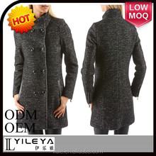 Double breasted ladies elegant thick warm winter coat with original weave