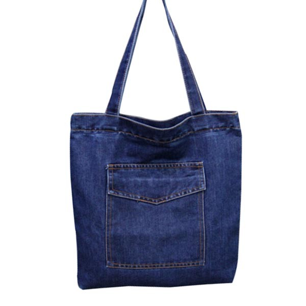 2017 new style cotton denim tote jeans shoulder shopping bag