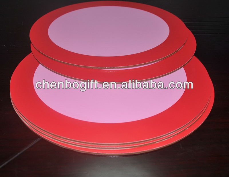Round wooden tablemat / wooden placemat / round shape mdf coaster and mdf placemat