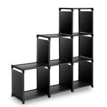 3-tier Storage Cube Closet Organizer Shelf 6-cube Cabinet Bookcase Black A020304-3