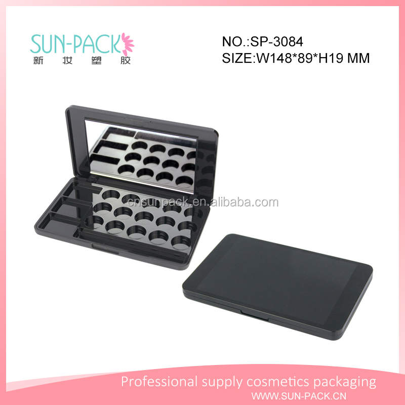 cool black custom cosmetic eyebrow and eyeshadow palette container packaging with mirror