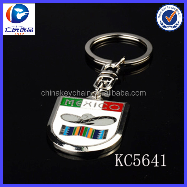 Custom metal 3D Mexico flag keychain