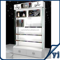 Tall cosmetic wood display cabinet/display showcase store shelves for beauty supply