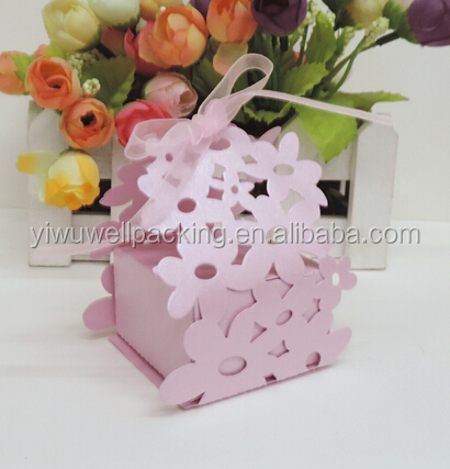 China Suppliers wholesale fancy pink flower laser cut candy box ,wedding box ,sweet box gift box from alibaba trusted suppliers