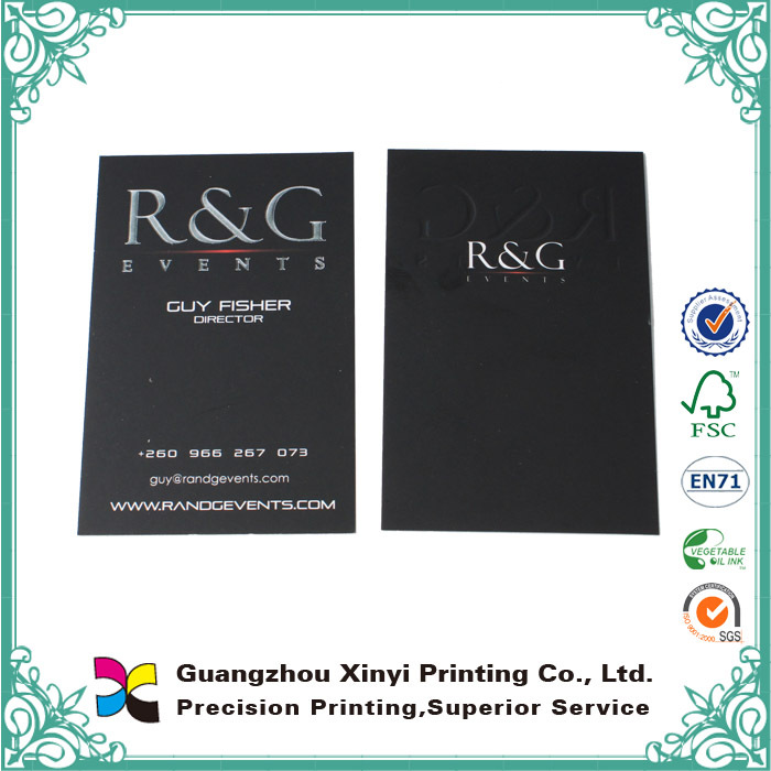 2016 high quality paper embossing matte black printing business card, calling card, paper visiting card
