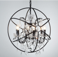 Retro Industrial Rusty Black Wrought Iron Spherical Round Globe Ball Pendant Lamp/ Orb Crystal Chandelier with Candle Bulbs