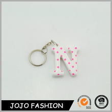 2017 special letters shape pink color custom plush toy plastic keychain