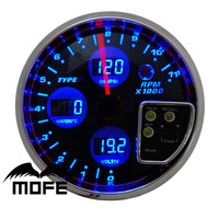 "MOFE Racing 120mm 5"" Black Face With Blue LCD DigitaTachometer With Volt + Water Temperature Temp + Oil Pressure PSI Meter Gauge"