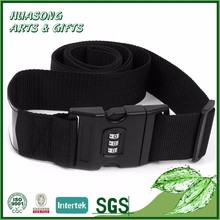 Fashion custom personalized black luggage strap belt with number lock