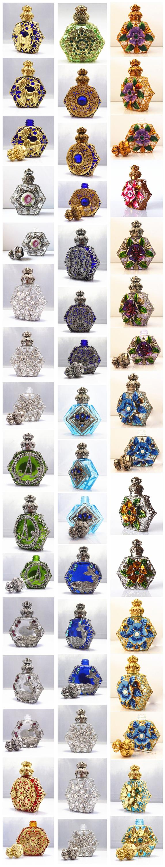 New Hot Arabic Style Metal Glass Material Unique Perfume Bottles with Metal and Beads Decorations