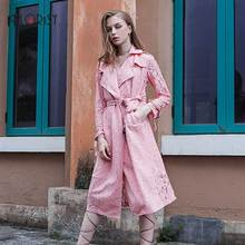 High quality 2017 Winter newest ladies elegant mature pink lace stitching long sleeve overcoat