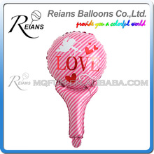REIANS Customized printed inflatable cartoon Love Stick shaped aluminum foil handle balloons (accept OEM ODM)