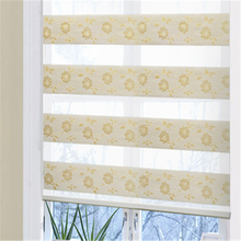 Jacquard voile fabric oval window curtains rainbow colored window blinds zebra blinds