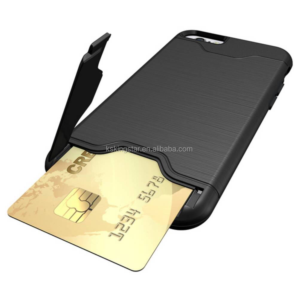 for iphone 7 case with card slot,brushed credit card protective case for iphone