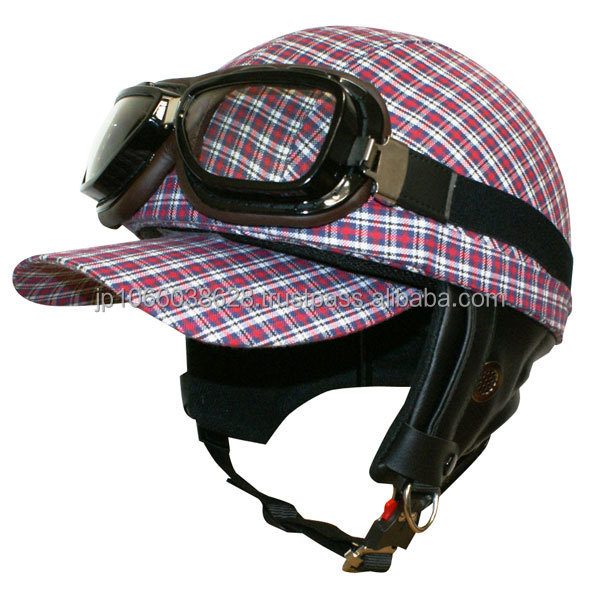 Japanese checked design half type helmet for women