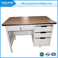 Hot selling steel frame wooden top office desk with 4 locking drawers