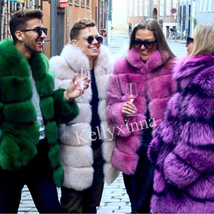 Wholesale fur coats customized women real colorful fox fur coat women