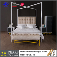 Modern White metal canopy bed with four poster