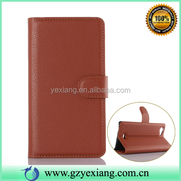 In Stock Cell Phone Lichi Leather Case Covers For Wiko Ridge Fab 4G Flip Cover Wallet