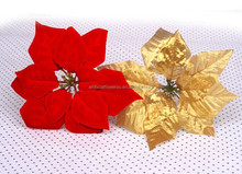 Cheap wholesale price 7 heads Artificial velvet Poinsettias Flower
