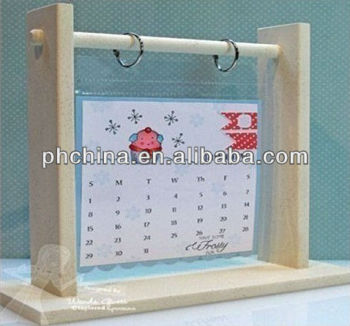 acrylic sheet calendar holder with wood frame