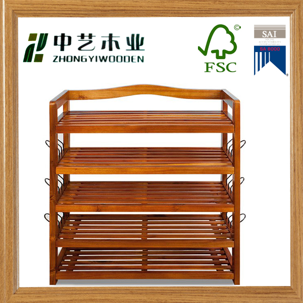 FSC Hot sale new arrive vintage design for living room furniture wooden shoes storage rack