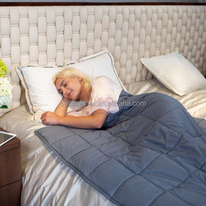 """OEM and ODM Glass Beads Filling 60""""x80"""" 15lbs Grey Weighted Blanket"""