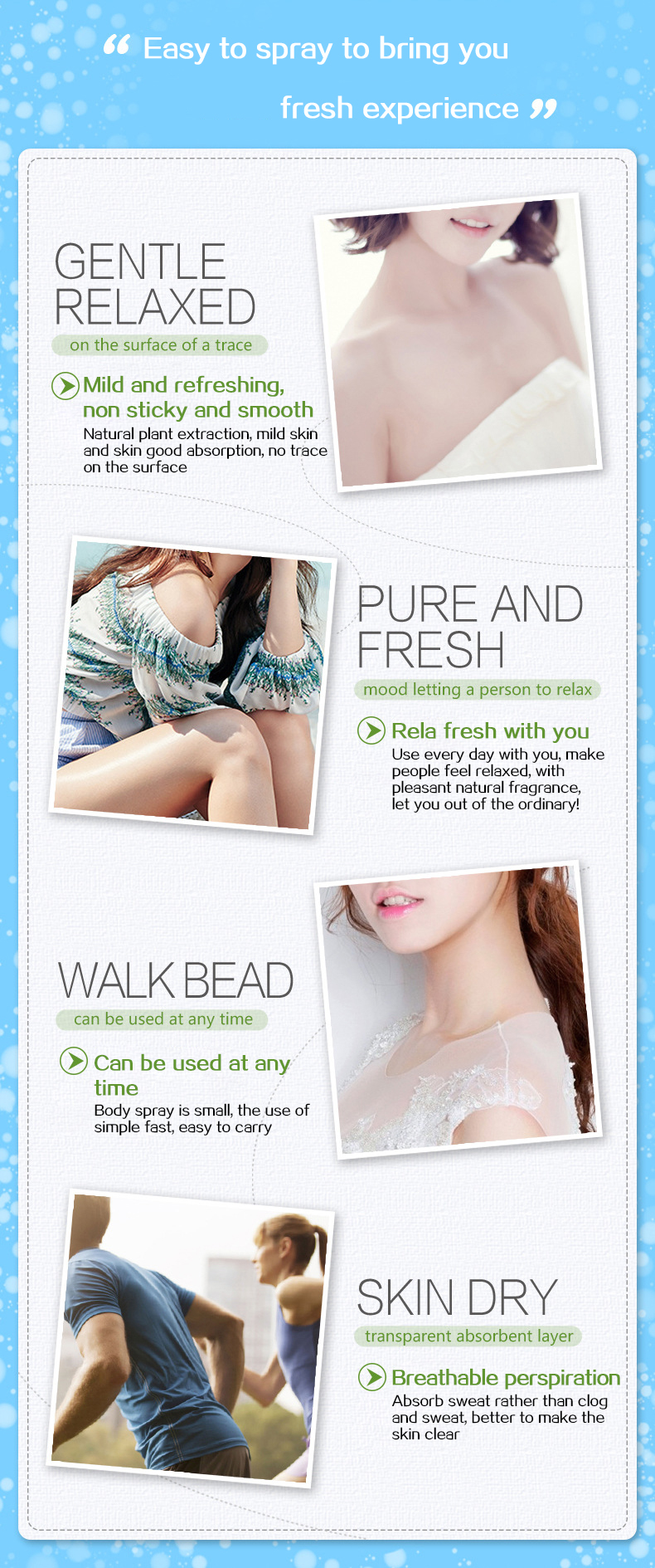 Fresh closeing skin gentle smoooth Incense Spary