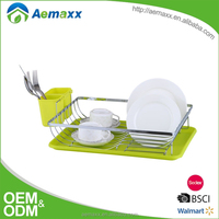 KWP-10020 plastic dish drainer chrome iron and PP drainboard with cutlery holder