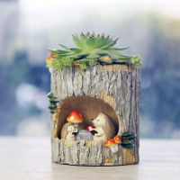 New hot tree hole hedgehog study garden pot resin morden flower pot home deco garden planter