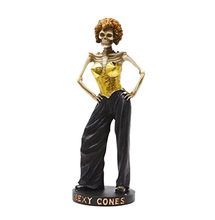 Resin Skeleton Woman in Bustier Sexy Cones Statue Figurine