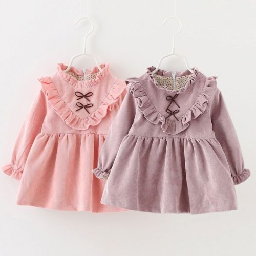 2017 latest design Childrens boutique clothing long sleeve smocked pink color winter baby girl party dress
