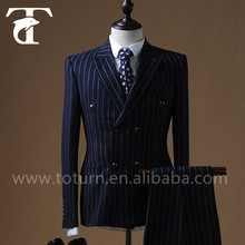 Fashion Navy Blue Stripe Double-Breasted Bespoke suit wholesale mens suit