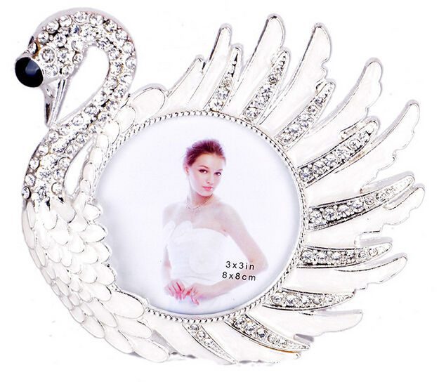 bling bling Set auger swan mental photo frame 3*3 and 2*2 inches photo size picture photo frame