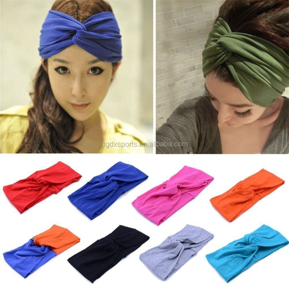 Women's Elastic Flower Printed Turban Headwrap Knotted Soft Twisted Headband