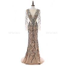 Evening Dress Long See Through Champagne Color Black Beaded Long Sleeve Mermaid Gown