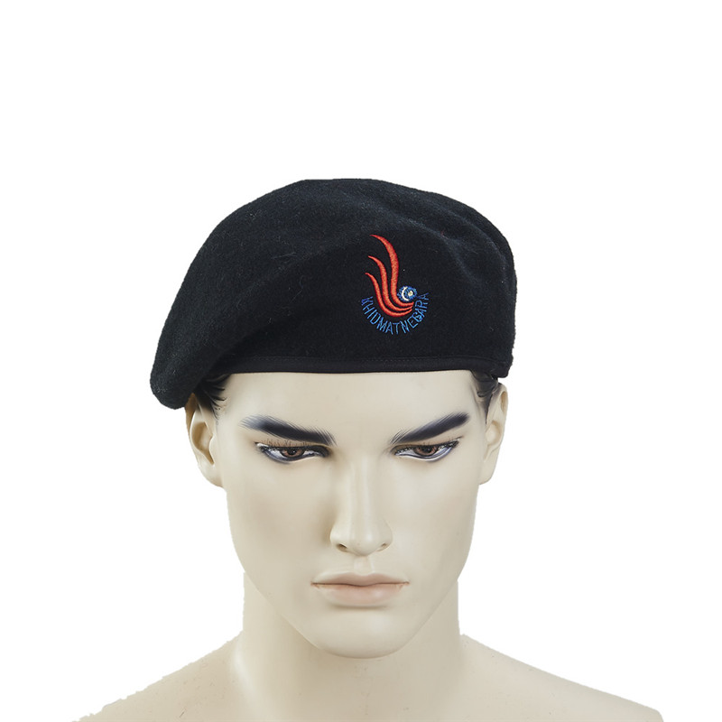 Mens winter hat fashion wine red military beret oem embroidered beret